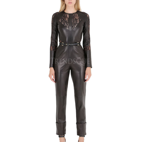 DESIGNER STYLE LACE AND LEATHER JUMPSUIT