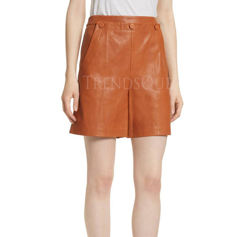 SAILOR STYLE WOMEN LEATHER SHORTS