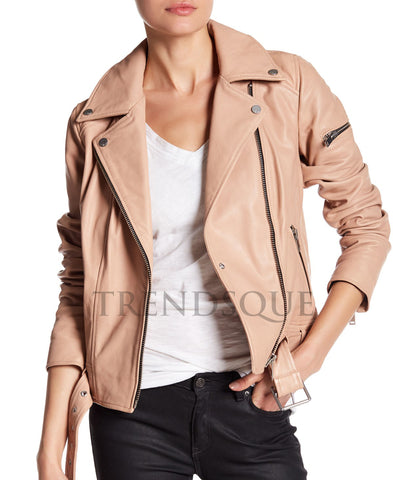 LEATHER ASYMMETRICAL STYLE MOTO JACKET