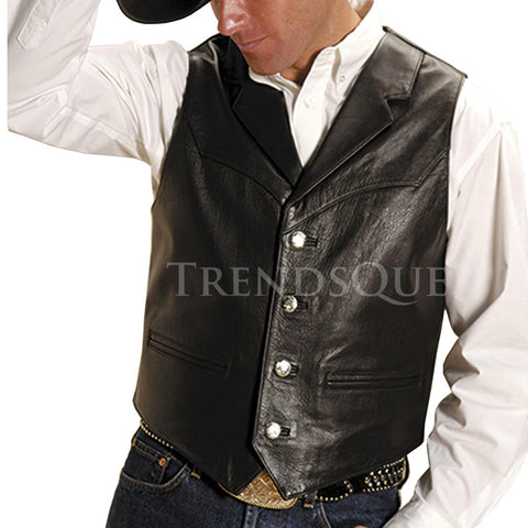 NOTCHED COLLAR MEN LEATHER VEST
