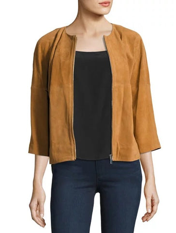CROPPED WOMEN SUEDE BOMBER JACKET