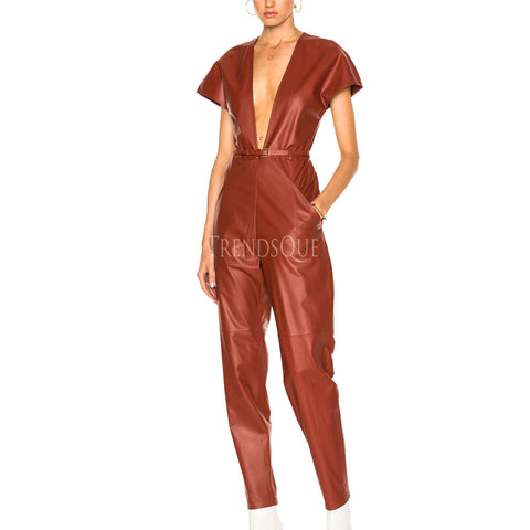V-NECK LEATHER JUMPSUIT