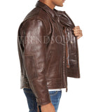 VINTAGE STYLE LEATHER MOTO JACKET
