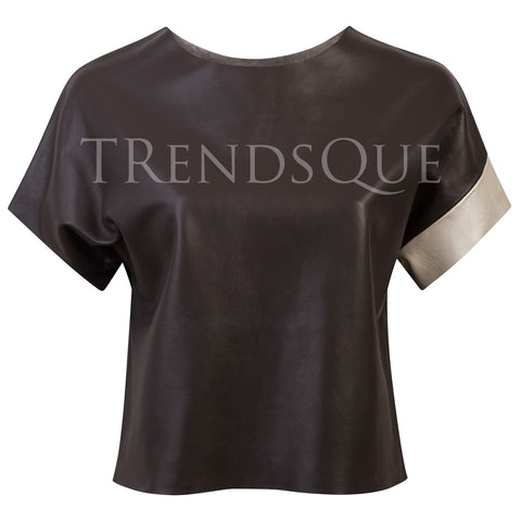 WOMEN LEATHER TEE