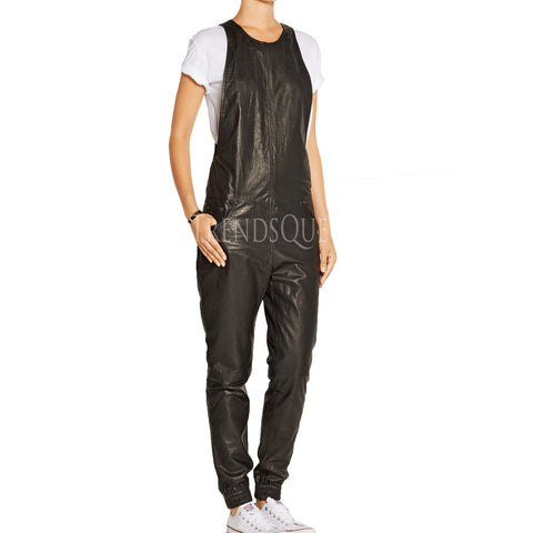 ROUND NECKLINE LEATHER JUMPSUIT FOR WOMEN