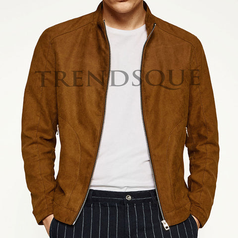 SUEDE LEATHER BIKER-STYLE JACKET