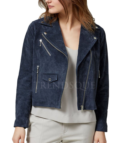 COOL STUDED PRESS SUEDE LEATHER JACKET FOR WOMEN