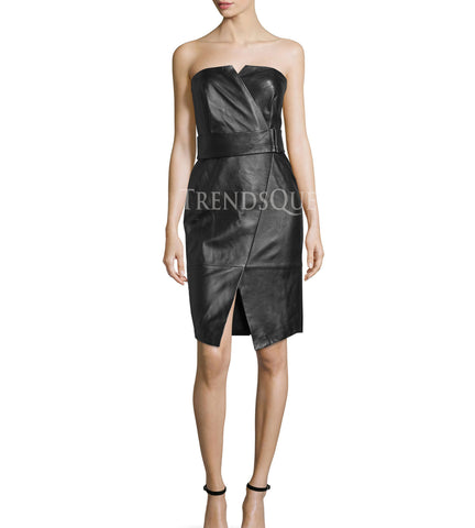 COCKTAIL STYLE STRAPLESS LEATHER DRESS