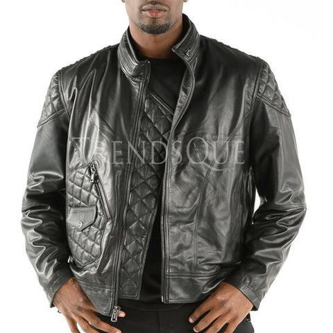 QUILTED MOTO MEN LEATHER JACKET