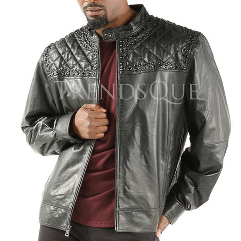 STUDDED QUILT MEN LEATHER JACKET