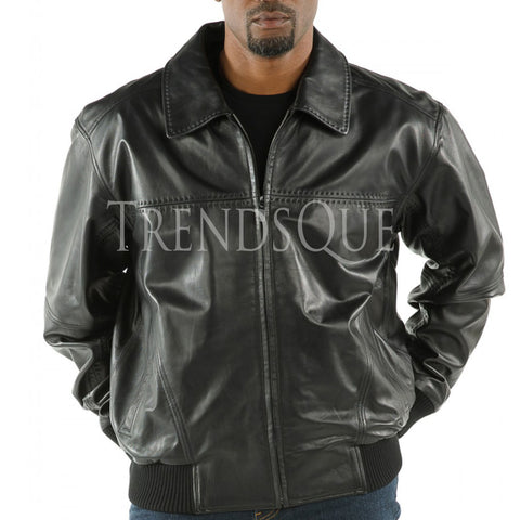 STITCH DEATILING MEN LEATHER BOMBER JACKET