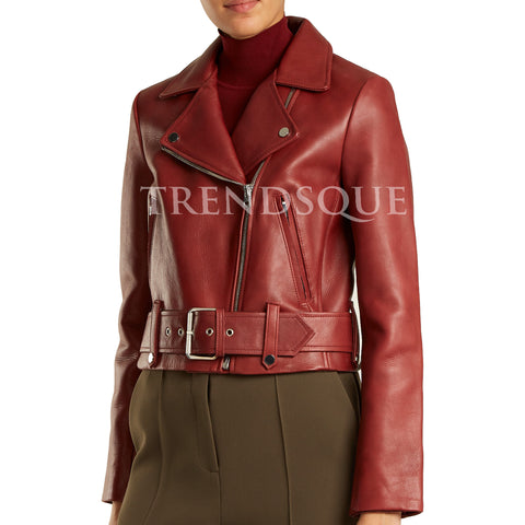 DARK RED CROPPED LEATHER BIKER JACKET
