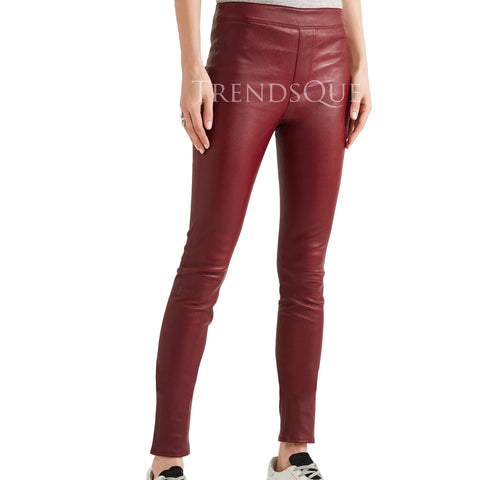 LAMB SKIN LEATHER CROPPED PANTS