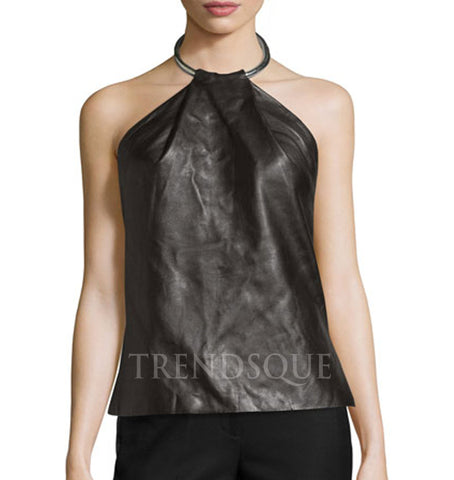 LEATHER RING HALTER TANK TOP