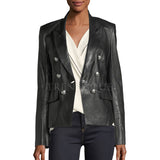 PEAK-LAPEL LEATHER BLAZER FOR WOMEN