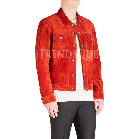 SUEDE RED LEATHER JACKET FOR MEN