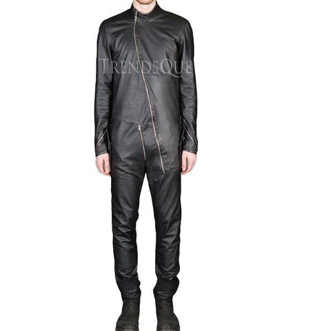 STYLISH MEN LEATHER JUMPSUIT