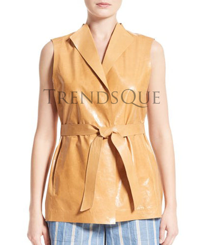 BELTED LAMBSKIN LEATHER VEST