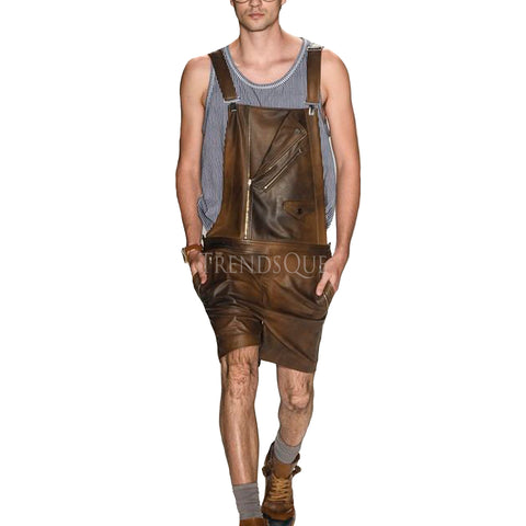 DISTRESS MEN LEATHER JUMPSUIT