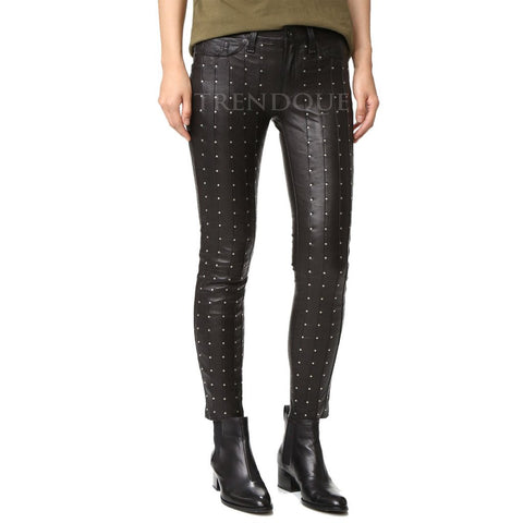 SEAMED BONE WITH MATTE FINISH DOT LEATHER PANTS