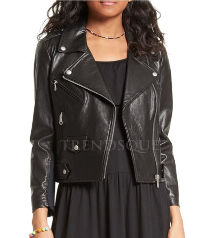 BLACK MOTO LEATHER JACKET FOR WOMEN