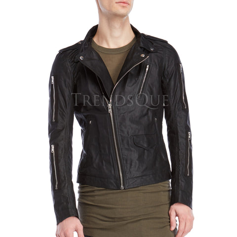Asymmetrical Men Leather Jacket