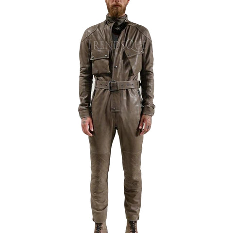 QUILTED DESIGN MEN LEATHER JUMPSUIT