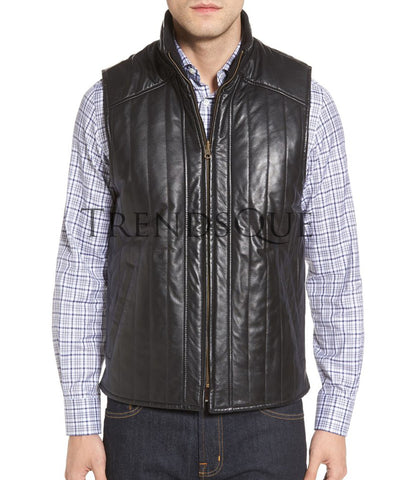 PUFFY STYLE LEATHER VEST FOR MEN