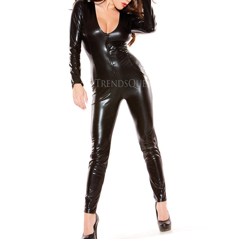 SEXY BLACK FAUX LEATHER CATSUIT