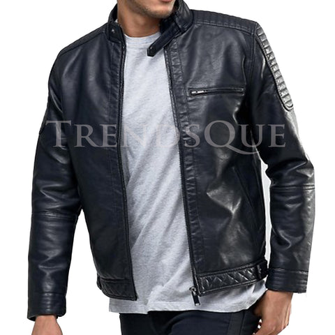 RACER NECKLINE IN FAUX LEATHER JACKET