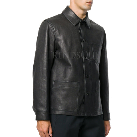 CLASSIC STYLE MEN LEATHER SHIRT