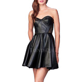 LEATHER CORSET SHORT COCKTAIL DRESS