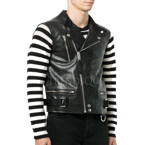 MEN LEATHER BIKER VEST