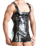 SHORT STYLE MEN LEATHER JUMPSUIT
