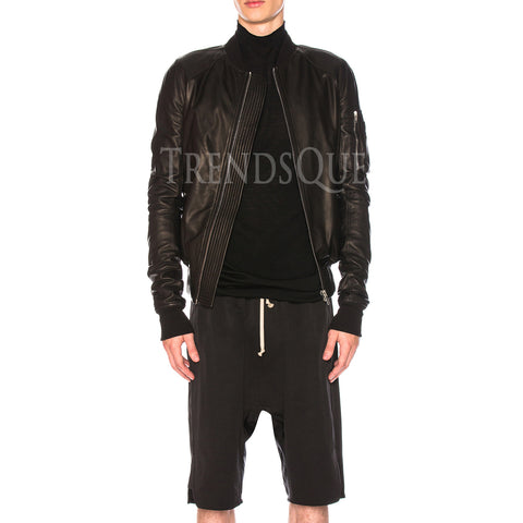 MEN LEATHER BOMBER JACKET
