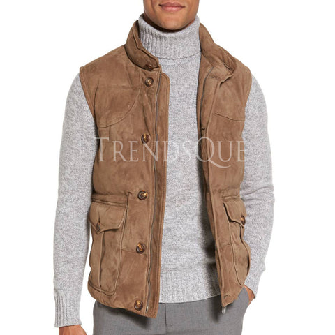 TRENDY STYLE MEN SUEDE LEATHER VEST