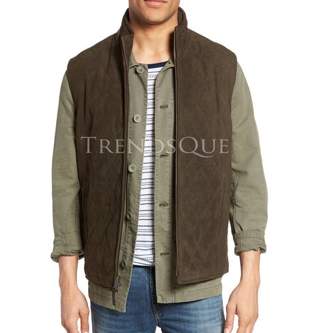 DIAMOND QUILTED MEN SUEDE LEATHER VEST