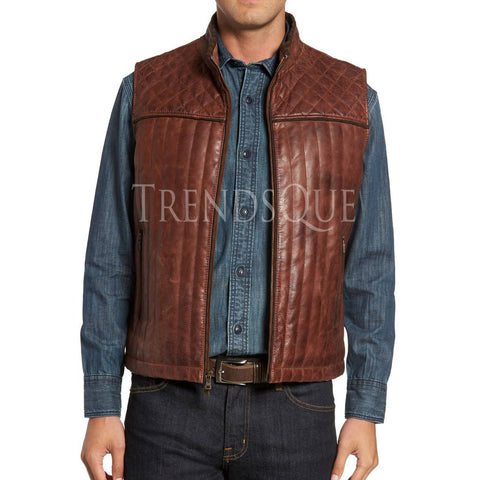 QUILTED STYLE MEN LEATHER VEST