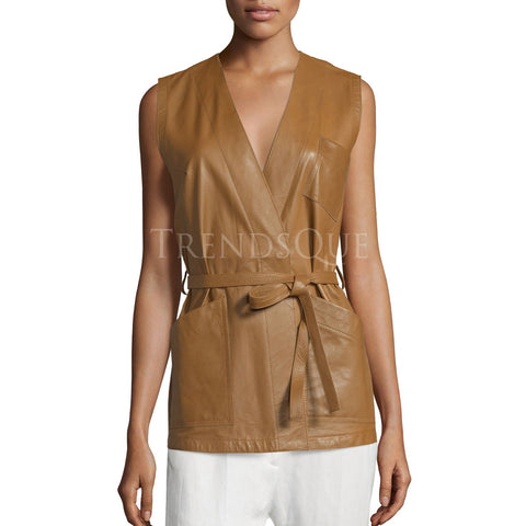 SLEEVELESS LEATHER WRAP TOP