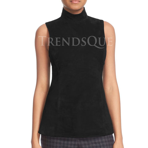 SUEDE LEATHER  FRONT MOCK NECK TOP