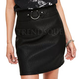 RING BELTED FAUX LEATHER MINI LEATHER SKIRT