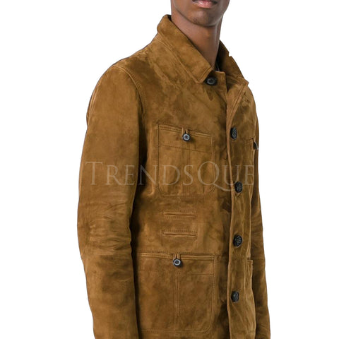 SUEDE MEN LEATHER SHIRT