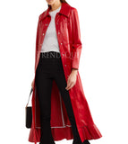 RUFFLED FAUX RED LEATHER COAT