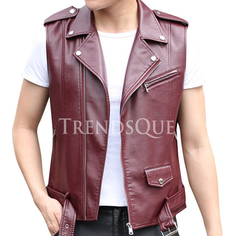 MOTORCYCLE STYLE LEATHER VEST