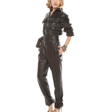 BELTED WOMEN LEATHER JUMPSUIT