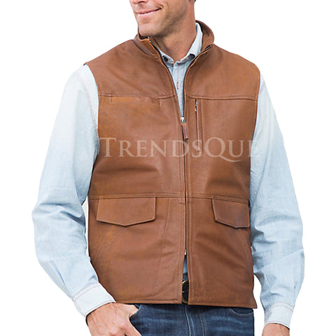 DISTRESSED MEN LEATHER VEST