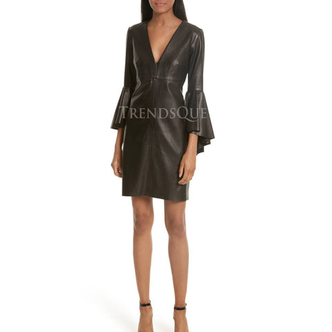 BELL SLEEVE LEATHER DRESS FOR WOMEN