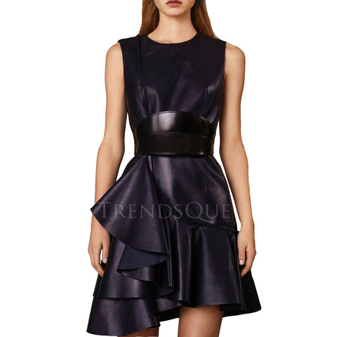 MINI LENGTH WIDE BELTED LEATHER DRESS