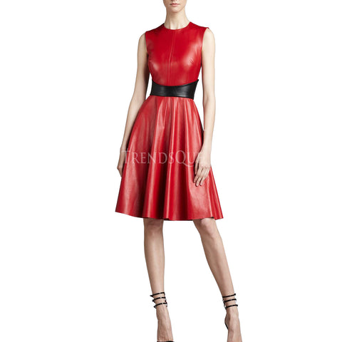 RED FLARED LEATHER DRESS FOR WOMEN