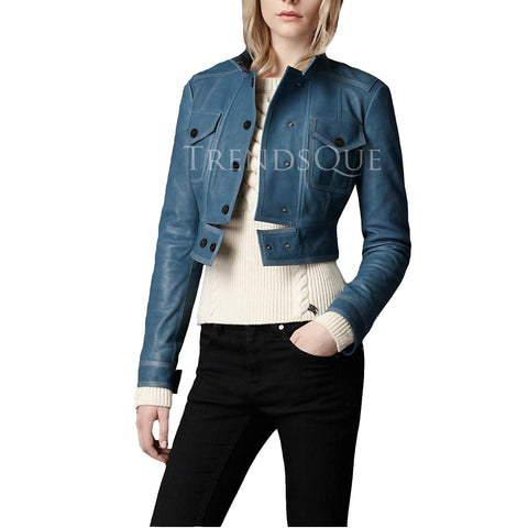 BLUE LAMB SKIN CROPPED LEATHER JACKET